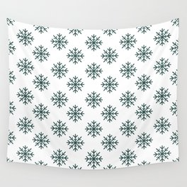 Snowflakes (Dark Green & White Pattern) Wall Tapestry