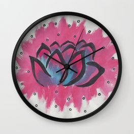 Watercolor Lotus Wall Clock