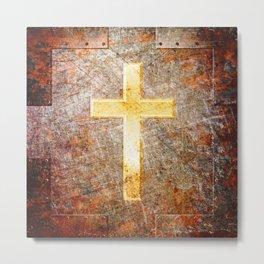 Gold Cross on Rusted Metal Plate Metal Print
