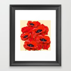 RED ORIENTAL POPPIES ON CREAM COLOR Framed Art Print