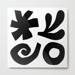 Mid Century Modern Organic Abstraction 933 Black and White Metal Print
