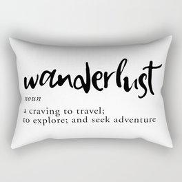 Wanderlust Definition - Minimalist Black Type Rectangular Pillow