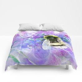Bumblebee and Lavender Flowers Herbal Bee Honey Purple Floral design Comforters