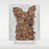yorkie Shower Curtains featuring Cute Yorkie by ArtLovePassion