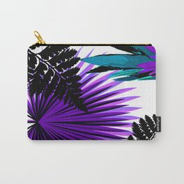 PALM AND FERN PURPLE BLACK AND WHITE TROPICAL PATTERN Carry-All Pouch