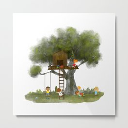 Tree Kids House Metal Print