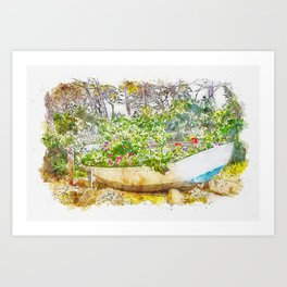 Aquarelle sketch art. Boat with flowers in the forest, Tuscany, Italy Art Print