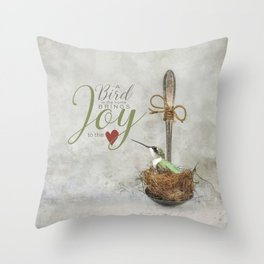 A Spoonful of Hummingbird Throw Pillow