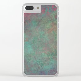 Grunge Garden Canvas Texture: Pink and Teal Baroque Clear iPhone Case