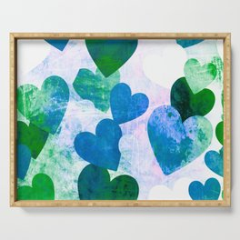 Fab Green & Blue Grungy Hearts Design Serving Tray