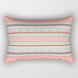 Boho Mandala Coral Striped Pattern Rectangular Pillow
