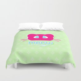 Pink cat head with blue eyes. Meow =) Duvet Cover