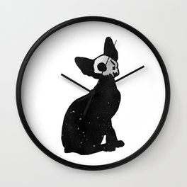 Black Cat Skull Wall Clock