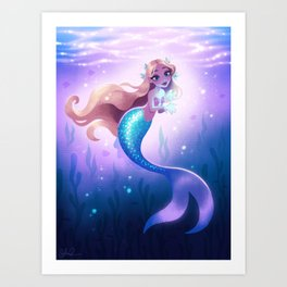 Mermaid with Glowing Fish Art Print