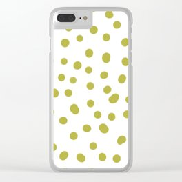 Yellow dots in white pattern Clear iPhone Case