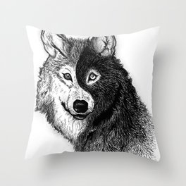 Ying Yang Wolf Throw Pillow
