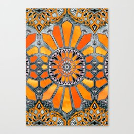 Celebrating the 70's - tangerine orange watercolor on grey Canvas Print