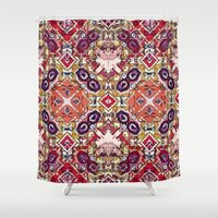 morocco Shower Curtains featuring Berry Morocco by Glanoramay