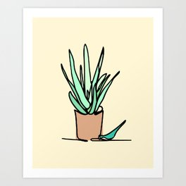 Potted Plant Drawing Art Print