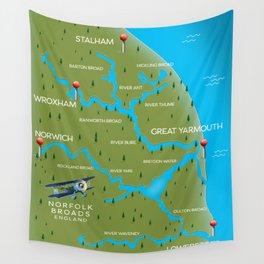 Norfolk Broads England navigation map. Wall Tapestry