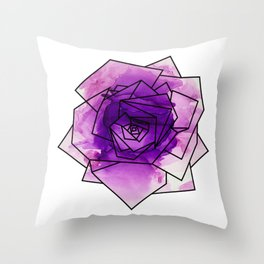 Purple Watercolor Dream Rose Throw Pillow