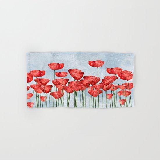 Poppyfield poppies poppy blue sky- watercolor artwork Hand & Bath Towel
