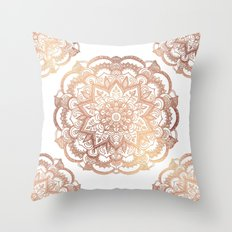 Mandala Rose-Gold Shine Throw Pillow