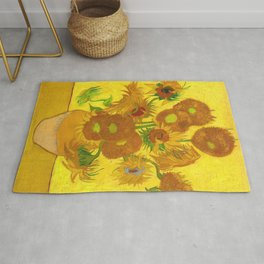 Vincent Van Gogh Fifteen Sunflowers In A Vase Rug