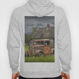 Old Vintage Pickup in front of an Abandoned Farm House Hoody