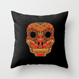 Skull in Khokhloma Style Throw Pillow