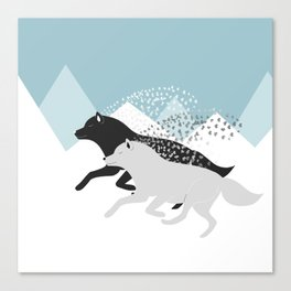 Wolves black and white Canvas Print