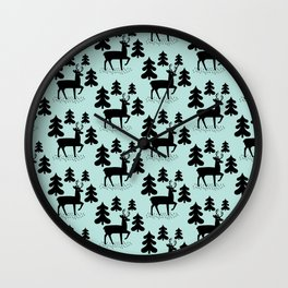 Deer In The Forest Blue Pattern Wall Clock