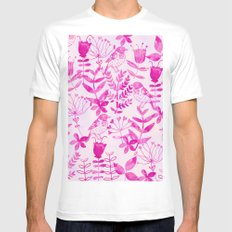 Watercolor Floral & Birds II LARGE White Mens Fitted Tee