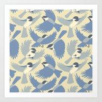 Chickadees  in Blue Art Print