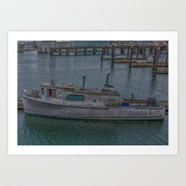 Old Fishing Boat Tied to Pier Art Print
