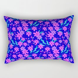 Beautiful girly spring pink flowers, delicate blue leaves floral fabric navy blue feminine pattern. Rectangular Pillow