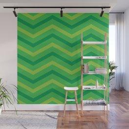 Emerald Stripe Chevrons Wall Mural