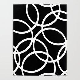 Interlocking White Circles Artistic Design Poster