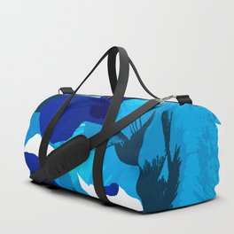Blue And Turquoise Poppies On A White Background #decor #society6 #buyart Duffle Bag