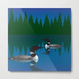 Loons in a Woodland Lake Metal Print