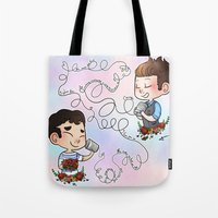 klaine Tote Bags featuring The Sound Of Love by Sunshunes