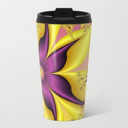 Flower Power, Purple Yellow Fractal Art Travel Mug