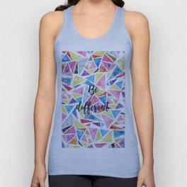 "Watercolor hand paint geometric triangles pattern ""be different"" quote Unisex Tank Top"