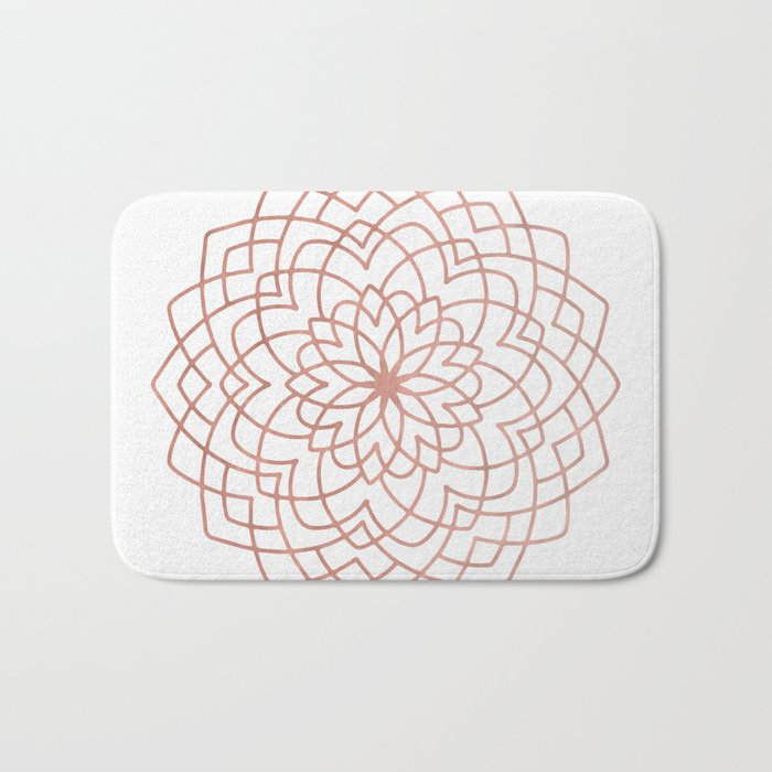 Mandala Blossom Rose Gold on White Bath Mat