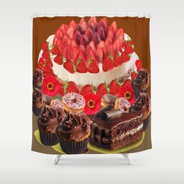 CAKE & STRAWBERRIES PINK FROSTED DONUTS BIRTHDAY Shower Curtain