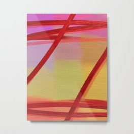 Pastel Red Transparent Abstract Metal Print