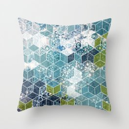 Ocean cubes Throw Pillow