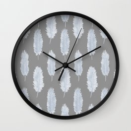 Grey Watercolour Feathers Illustrated Pattern Wall Clock