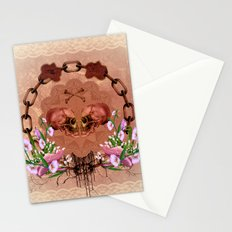 Awesome skulls with flowers Stationery Cards