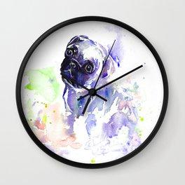 Purple Pug Puppy Wall Clock